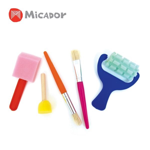 Micador 澳洲 大畫家工具組(壓模平刷x1、圓頭筆刷x1、平頭筆刷x1、小圓泡沫刷x1、不規則滾筒刷x1)