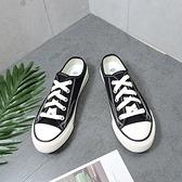 X-INGCHI 女款黑色帆布穆勒鞋-NO.X0167