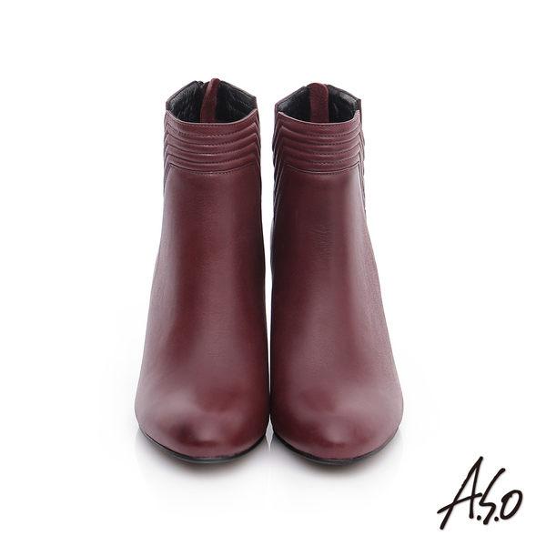 A.S.O 保暖靴  真皮側V拉鍊奈米短靴  酒紅