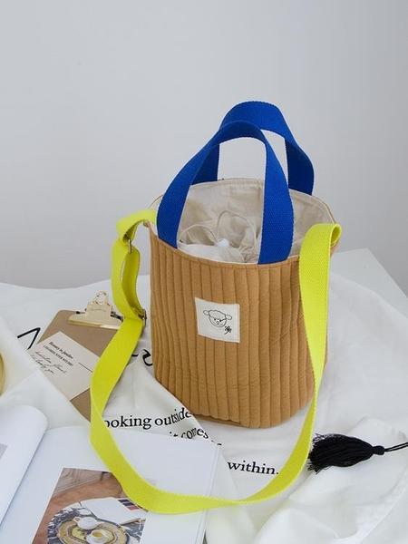 (手提)日韓外出輕便水桶媽咪包手提斜跨母女親子包小號單肩多功能棉布包