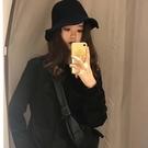 韓版盆帽女士百搭羊絨漁夫帽文藝學院風遮陽帽休閒遮陽 簡而美