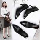 職業女鞋 職業女鞋2021春季新款潮高跟鞋黑色皮鞋單鞋尖頭細跟中跟工作鞋女【618 購物】