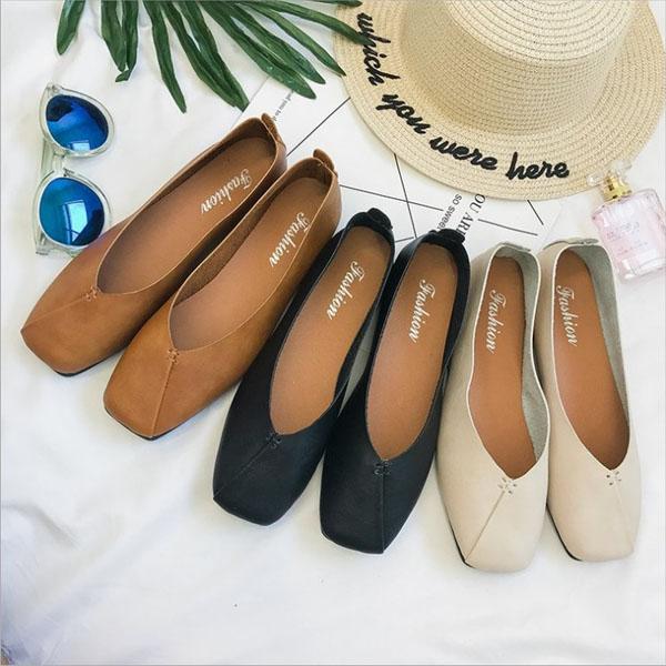 懶人鞋-韓式經典百搭素色方頭套腳耐走娃娃鞋 樂福鞋 平底鞋 一腳蹬 【AN SHOP】