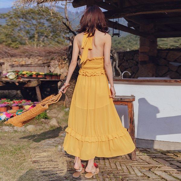 梨卡★現貨 - 海邊度假泰國掛脖沙灘裙海南三亞超仙連衣裙C6431