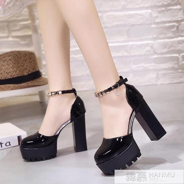 高跟鞋女2021新款春季中跟粗跟羅馬韓版圓頭一字扣帶涼鞋女鞋子潮 夏季新品