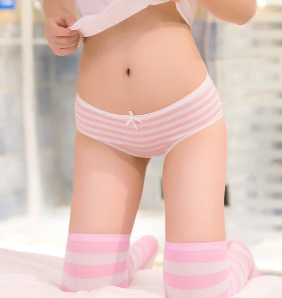 【顏色不足隨機出貨】條紋海軍風蝴蝶結可愛女性內褲 女性內褲全棉