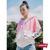 [第2件1折]Levis 女款 連帽外套 / Oversize 寬鬆版型 / 字母Logo / 粉
