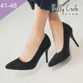 大尺碼女鞋-凱莉密碼-秋冬設計師新款氣質格紋尖頭高跟鞋9cm(41-48)【HB281】黑色