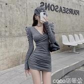 熱賣緊身洋裝 V領打底緊身連身裙女秋冬2021新款氣質收腰顯瘦內搭裙子包臀短裙 coco