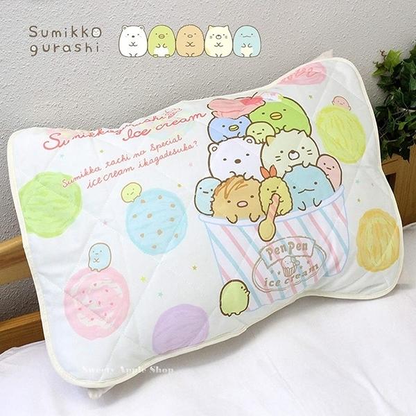 日本限定 SAN-X 角落生物 冰淇淋版 接觸冷感 枕頭 保潔墊