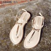 女夾腳涼鞋 涼鞋女夏平底新款韓版百搭學生夾腳夾趾簡約女士平跟羅馬仙女