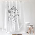簡約北歐ins加厚防水防霉浴簾套裝免打孔浴室遮光網紅窗簾隔斷簾 8號店