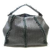 BOTTEGA VENETA 寶緹嘉 黑色編織羊皮肩背包 Intrecciato Fringe Hobo Bag BRAND OFF