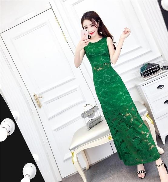 夏季新款韓版名媛氣質圓領無袖修身顯瘦勾花蕾絲長裙洋裝潮