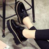 加絨ins小皮鞋女學生單鞋秋冬新款復古英倫風女鞋厚底鬆糕鞋百搭   『歐韓流行館』