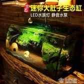 小中型創意桌面家用魚缸生態草缸水陸缸烏龜缸假山造景玻璃水族箱 mks全館88折