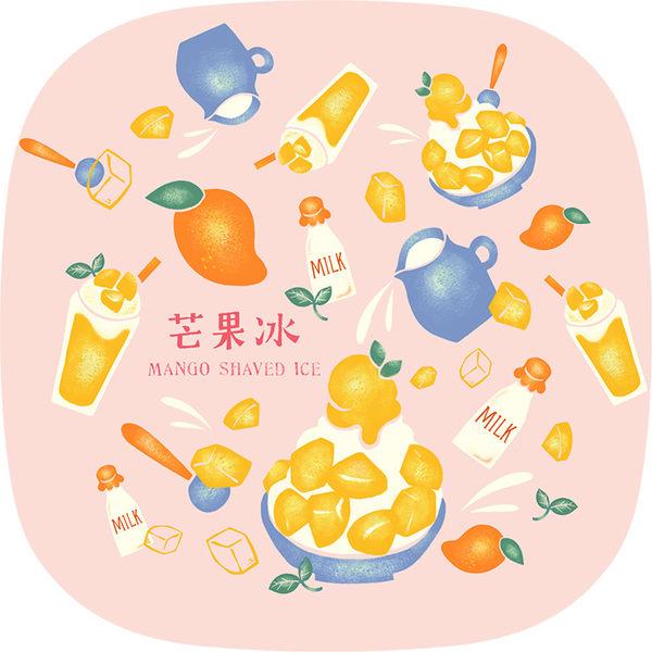 【猴子設計】2312-布杯墊 食遊台灣-芒果冰