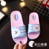 女童拖鞋夏卡通可愛室內小公主防滑軟底韓版親子寶寶兒童一字拖鞋-奇幻樂園