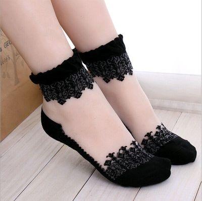 ►蕾絲網紗花邊透明襪子 水晶短襪韓國薄款可愛玻璃絲襪船襪【B7133】