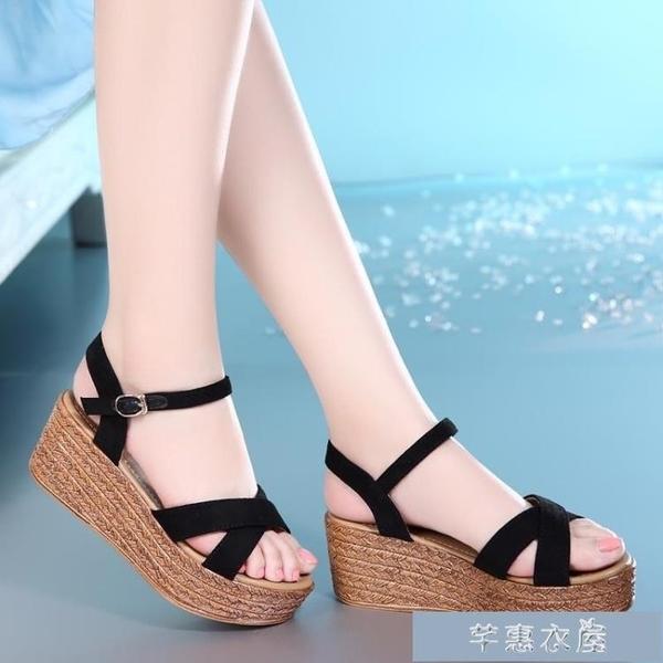厚底涼鞋真皮高跟坡跟涼鞋女平跟沙灘鞋波西米亞民族風防水臺春夏新款 快速出貨
