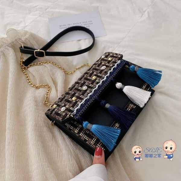 流蘇包 洋氣小包包女2020新款潮韓版百搭斜背包鍊條包單肩流蘇時尚小方包 3色
