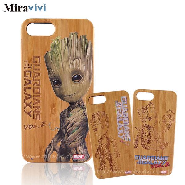 MARVEL星際異攻隊2 iPhone 8 Plus / iPhone 7 Plus(5.5吋)炭竹木紋雷彩繪雕雙料殼