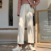 寬管褲 白色正韓牛仔褲女秋 夏季直筒褲高腰寬鬆薄款 網紅九分顯瘦褲子  店慶降價