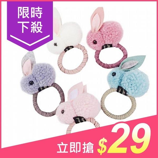 QQ長耳立體兔兔髮圈(1入)【小三美日】髮飾/顏色隨機出貨 原價$39