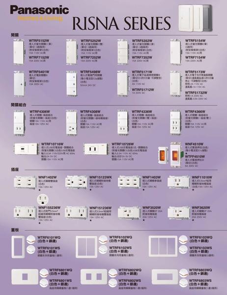 國際牌 Panasonic RISNA 系列 埋入式插座 附接地極 組合 WNF1101W 白色