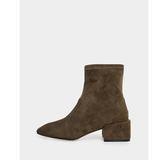 真皮短靴-R&BB羊皮*極簡方頭粗跟彈性襪靴-黑色/卡其