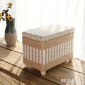 手工編織收納凳儲物凳子藤編換鞋凳擱腳凳實木多功能可坐人整理箱 QG26306『M&G大尺碼』