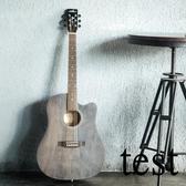 吉他復古民謠吉他41寸40寸黛青色初學者木吉他入門學生男女樂器 叮噹百貨