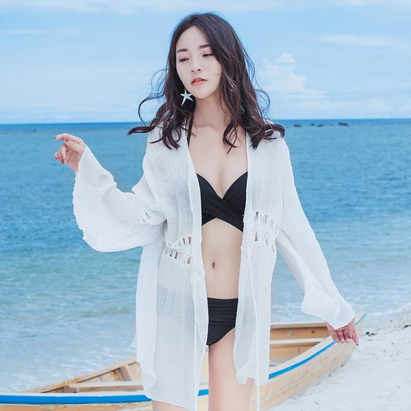 比基尼罩衫外套溫泉游泳衣外搭蕾絲鏤空海邊沙灘度假裙防曬開衫女TBF10-B.1號公館