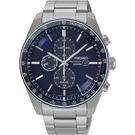 【台南 時代鐘錶 SEIKO】精工 太陽能三眼計時手錶 SSC727P1@V176-0AZ0B 藍/銀 44mm