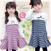 清新氣質千鳥格紋假2件長袖洋裝-2色(300167)【水娃娃時尚童裝】