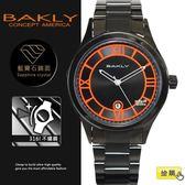 【完全計時】手錶館│BAKLY 美國意念 螢光夜跑 夜光BA3055系列 黑鋼  禮物 推薦女錶 亮橘 羅馬