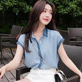 無袖雪紡上衣 夏季超仙洋氣雪紡衫短袖寬鬆拼色小衫無袖小清新上衣女士-Ballet朵朵