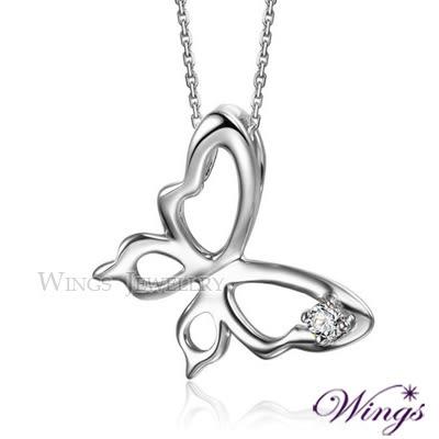 Wings 蝶舞 項鍊 925純銀精鍍白K金搭配八心八箭方晶鋯石