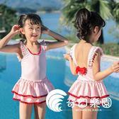 兒童泳衣女童連體公主裙式韓版中大童寶寶女孩可愛游泳裝帶帽溫泉-奇幻樂園