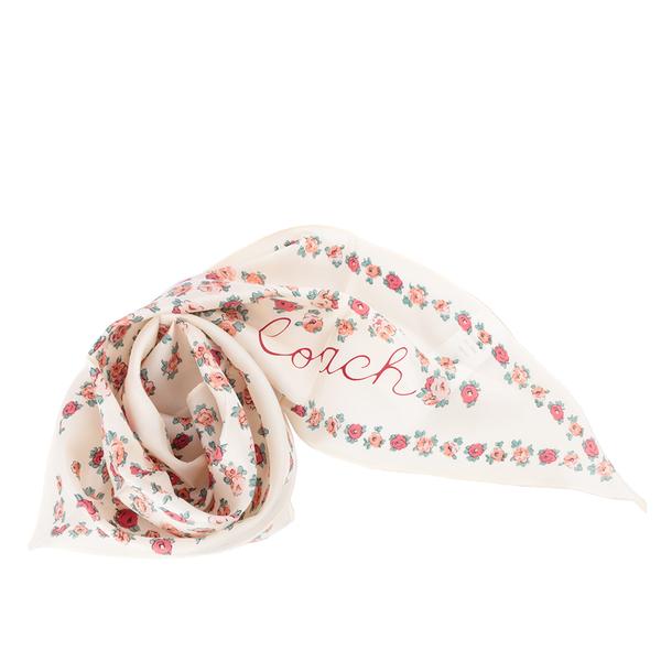 【COACH】茶玫瑰圖案菱形絲巾(米白色) 89796 CHK