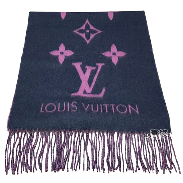 【Louis Vuitton 路易威登】M70463 Reykjavi系列 MONOGRAM織花圖案圍巾(靛藍X粉)