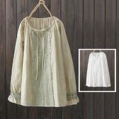 *ORead*日系花邊刺繡圓領繫帶長袖襯衫(2色F碼)
