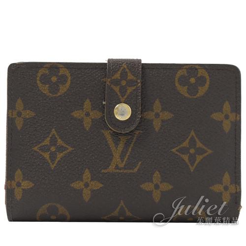 茱麗葉精品 二手精品【8成新】Louis Vuitton LV M61674 French 經典花紋扣式零錢中夾