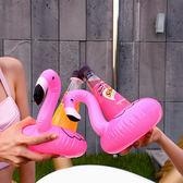 紅鶴泳圈 充氣水上杯墊火烈鳥飲料座手機座漂浮杯座N2i