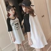 短袖洋裝 2020春夏新款 韓版大尺碼女裝寬鬆中長款沙皮狗圓領純棉短袖T恤女潮