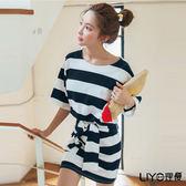 LIYO理優海軍風條紋洋裝(上衣+裙子)2件組L726003