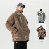 羊羔毛外套-翻領加厚寬鬆復古保暖男夾克2色73zj36[巴黎精品]