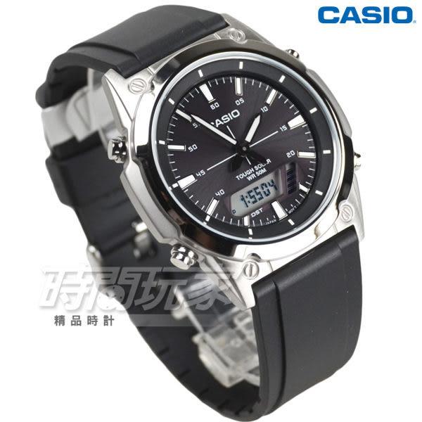 CASIO卡西歐 AMW-S820-1A 太陽能電力數字雙顯男錶 女錶 防水手錶 橡膠錶帶 計時碼錶 黑 AMW-S820-1AVDF