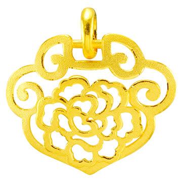 甜蜜約定金飾-富貴金鎖-黃金墜子 鎖造型 金飾