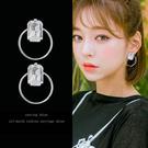 【免運到手價$98】冷淡風簡約氣質方形水鑽耳釘女韓國個性潮人網紅金屬兩戴耳環